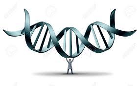 Mann trägt DNA-Doppelhelix